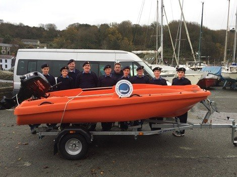 Fishguard Sea Cadets successfully applied to our Community Fund for help towards a new safety boat