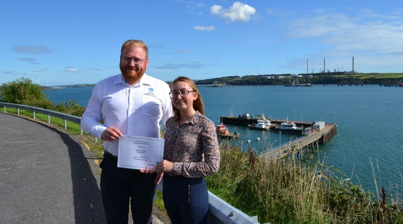 The Port's Environmental Manager Jonathan Monk with student Elizabeth Jenkins