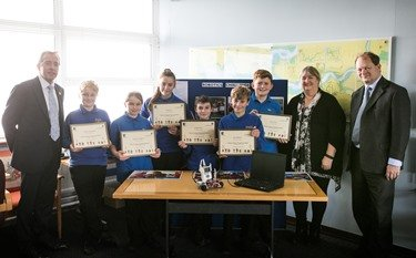 Pupils from Milford Haven School were awarded certificates by the Minister for successfully completing a unit in Robotics as part of the Port's Waterway Robotics Challenge