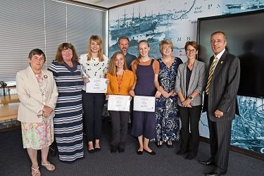 (L-R) Yvonne Evans, Milford Haven School; Maxine Thomas, Pembrokeshire College; Rhiannon Morgan; Rebecca Foster; Owen Davies, Port of Milford Haven; Isabelle Hughes; Melanie Jenkins; Karen Lewis and Chris Martin, Port of Milford Haven