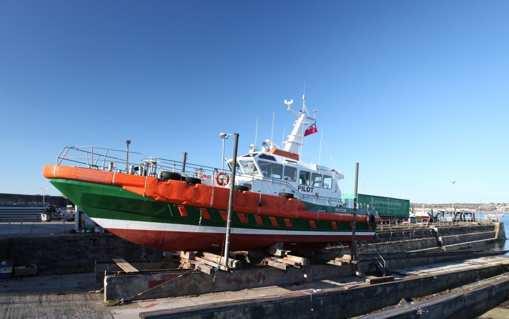 Pilot boat Picton, built by Mustang Marine, on the slipway at Pembroke Port