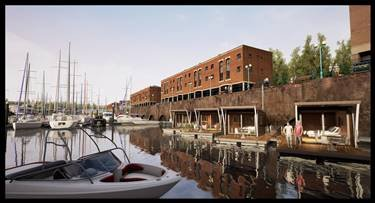 Artists impression of Milford Waterfront's floating hotel suites