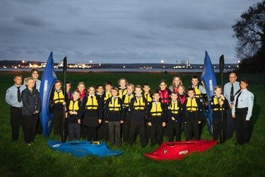 Anna Malloy, PR and Communications Manager at the Port, with 2nd Milford Haven Sea Scouts and their new buoyancy aids