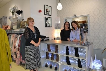 Melanie Jenkins, Assistant Property Manager at the Port of Milford Haven, with Jacquelyn Morrell and Rachel Stanmore of Boobaloo Boutique