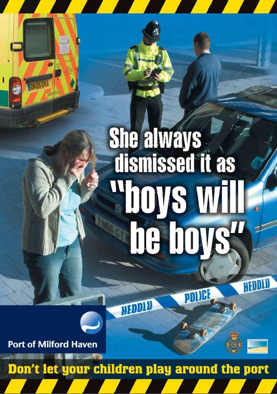 Milford Dock safety poster - She always dismissed it as 'boys will be boys'
