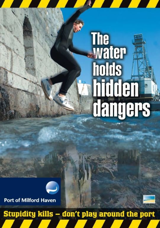 Milford Dock safety poster - The water holds hidden dangers